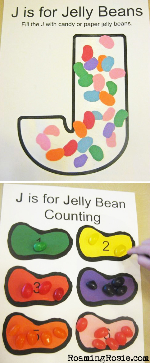 J is for Jelly Beans FREE printable Alphabet Activity Worksheets from Roaming Rosie