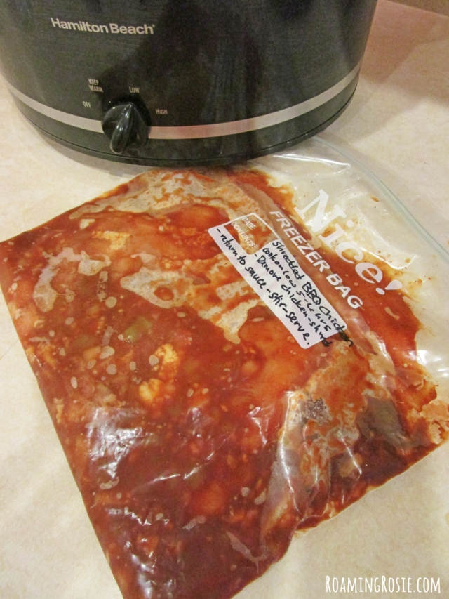 Shredded Spicy BBQ Chicken Crock Pot Freezer Meal