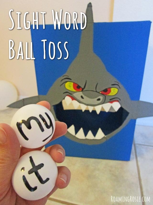 Feed the Shark Sight Word Ball Toss