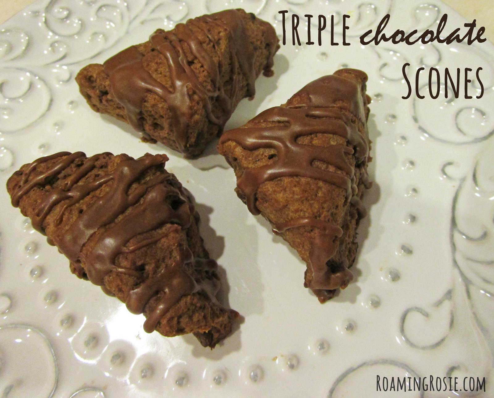 Triple Chocolate Iced Scones Recipe