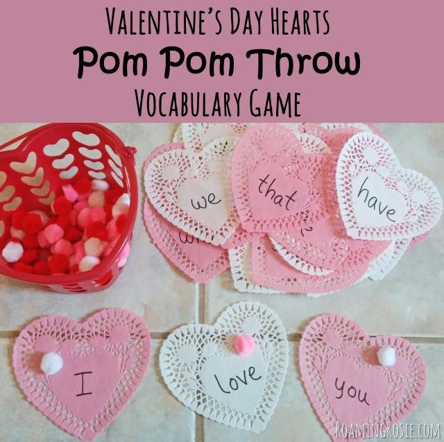Valentines Day Heart Power Words Pom Pom Toss Game