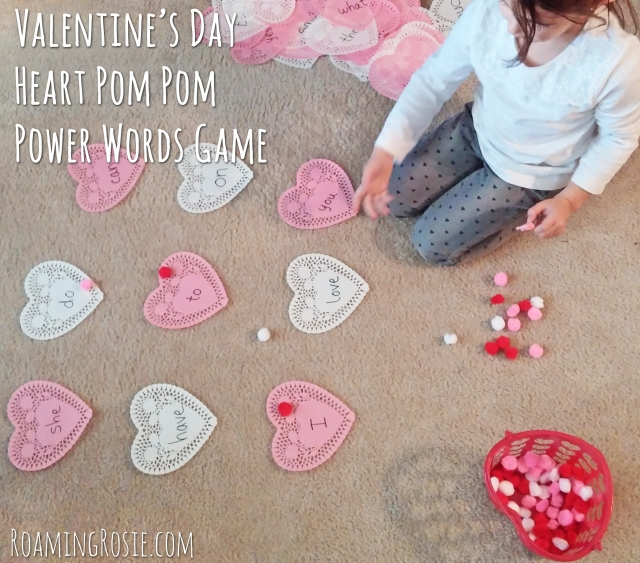 Valentines Day Heart Power Words Pom Pom Toss Game 3