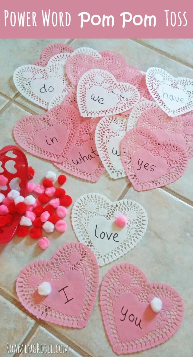 Valentines Day Heart Power Words Pom Pom Toss Game 5