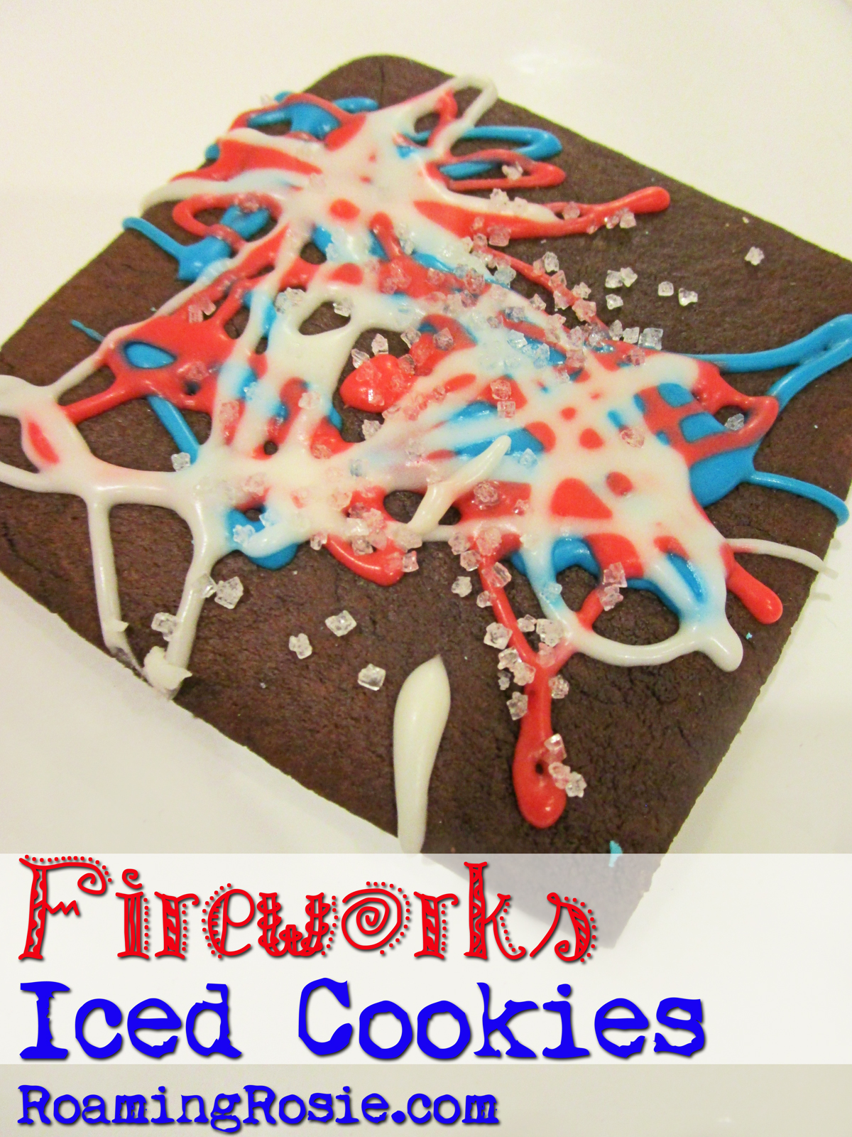 Fireworks Chocolate Iced Cookies from Roaming Rosie 1