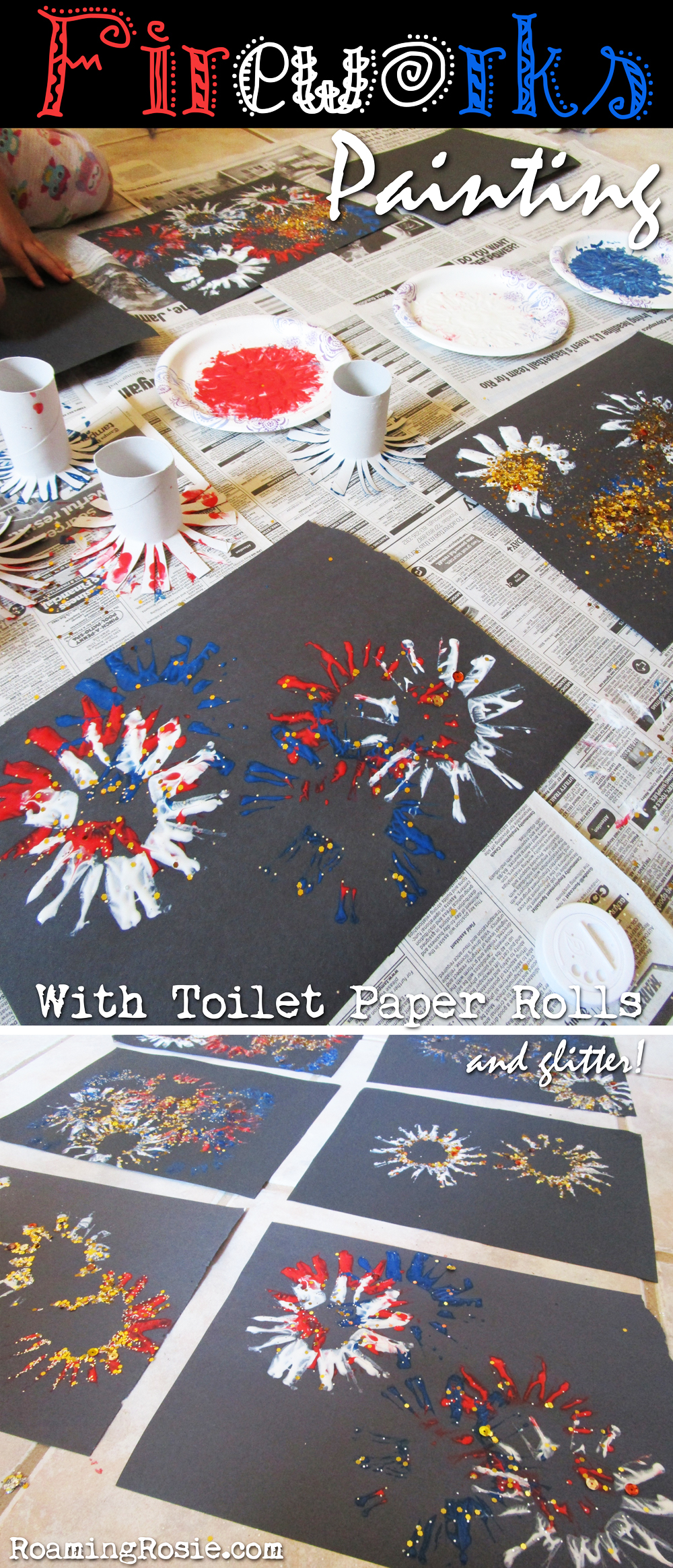 Fireworks Painting with Toilet Paper Rolls and Glitter 1