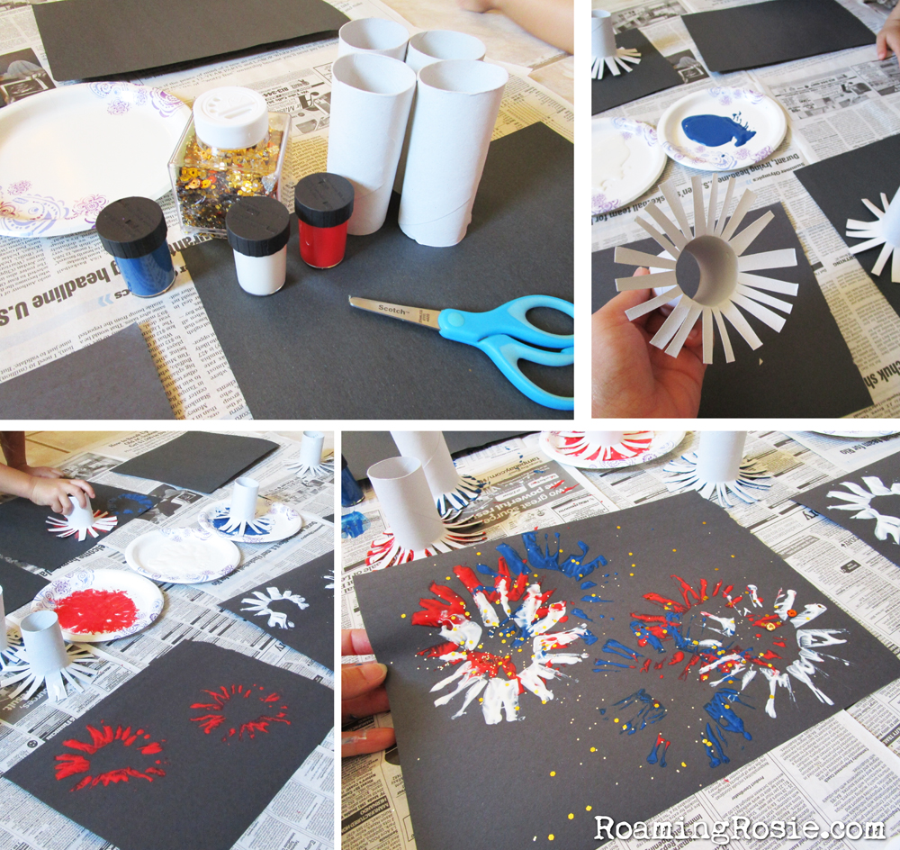 Fireworks Painting with Toilet Paper Rolls and Glitter 2