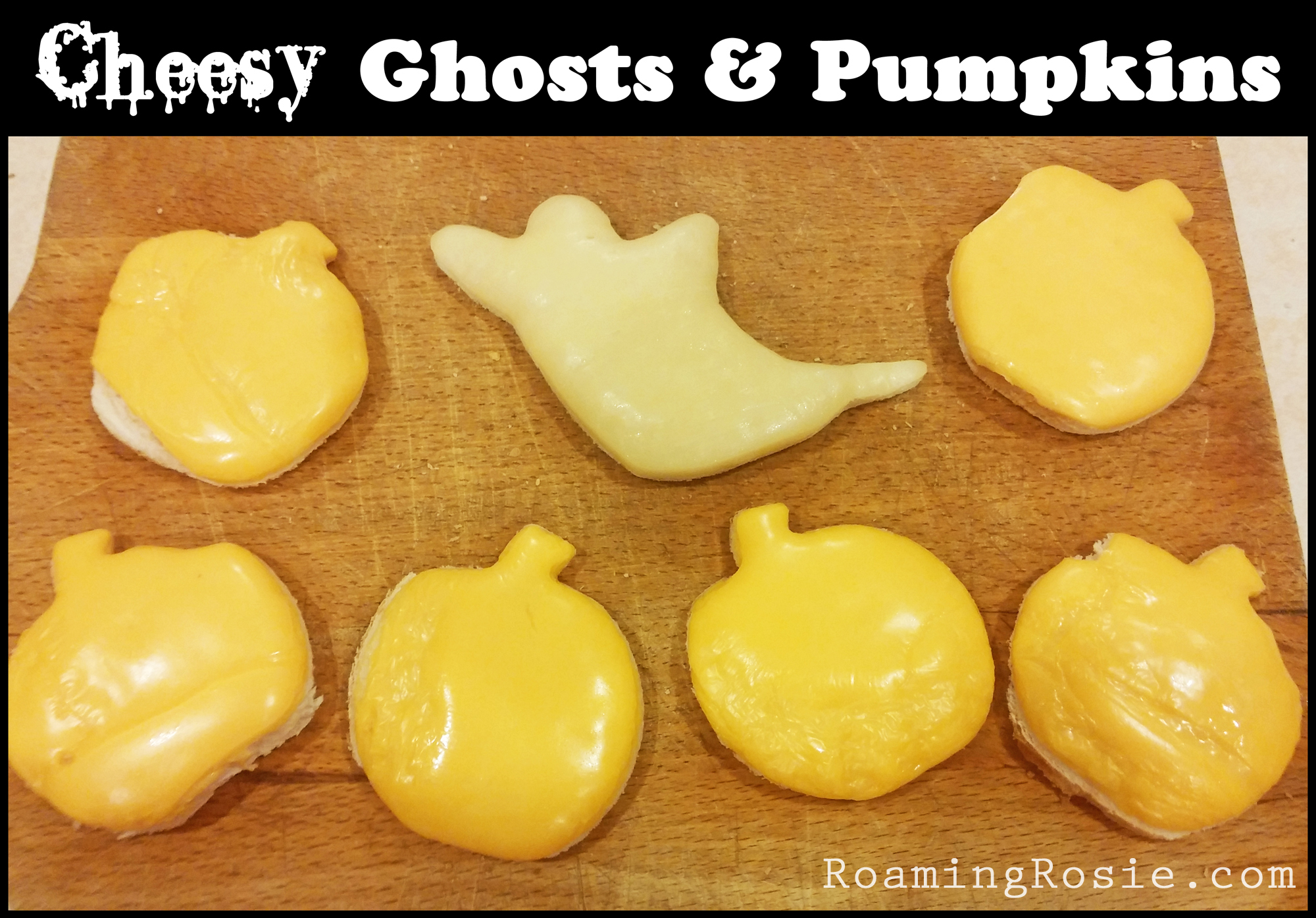 Halloween Cheesy Ghosts and Pumpkins open faced sandwiches