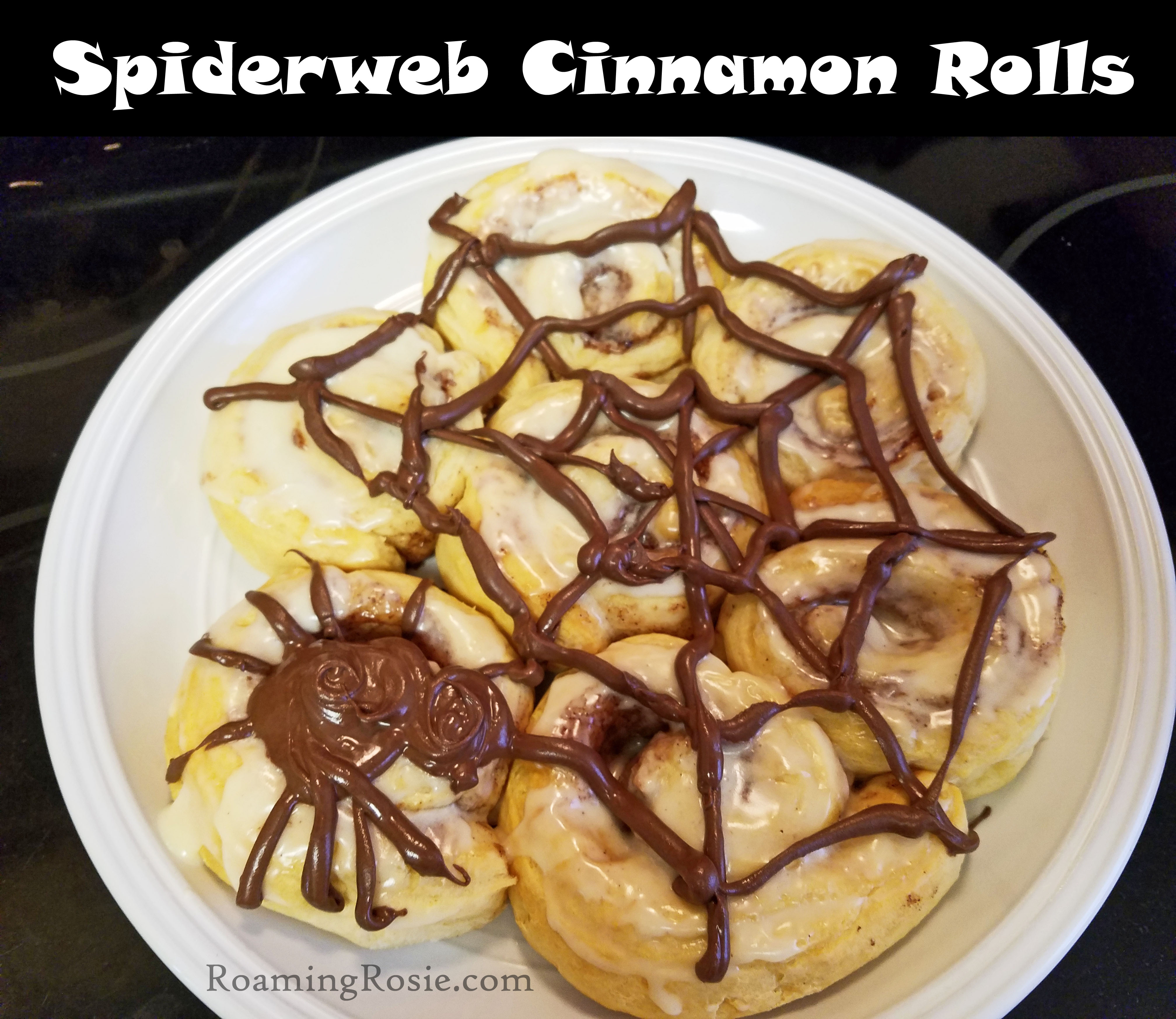 spiderweb cinnamon rolls